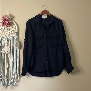Cloth & Stone Black Button Down Shirt Size XL